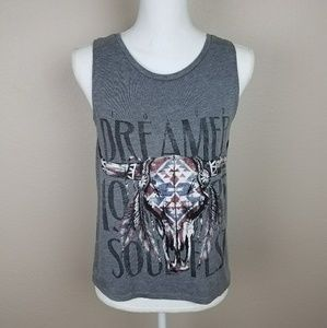 Divided Grey Tank Top Muscle Wide Cut Dreamer Boho